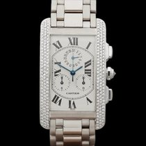Cartier Tank Americaine After set Pave Diamonds 18k White Gold...