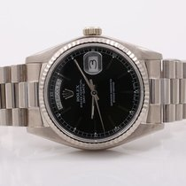 Rolex Mens 18K White Gold Day-Date President - Black Stick...