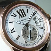 Cartier 18k Pink Gold Silver Brown Leather Strap W7100009
