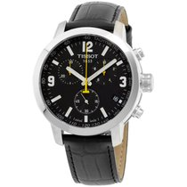 Tissot Prc 200 Black Dial Black Leather Strap Men's Watch...